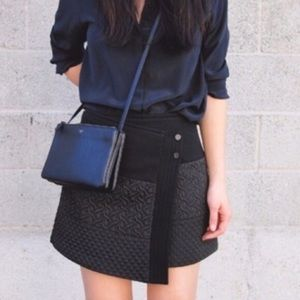 CAbi Black Quilted Button Wrap Mini Skirt
